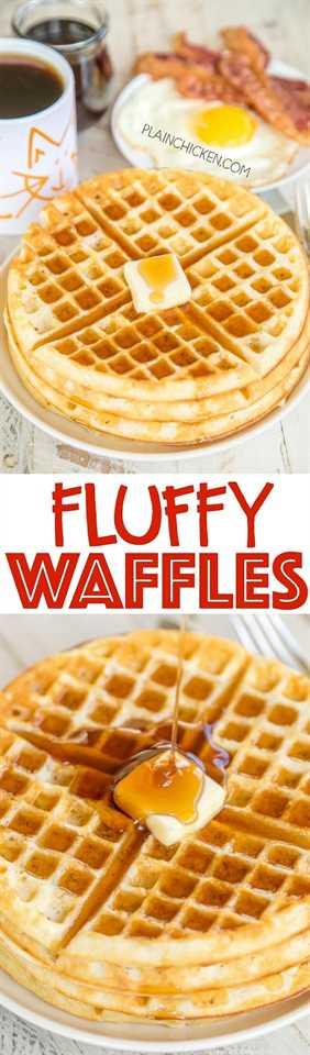 Waffles esponjosos: ¡en serio los waffles más DELICIOSOS! ¡Mejor que la Waffle House! ¡¡Lo prometo!! Muy fácil de hacer. Puede congelar los waffles sobrantes para un desayuno rápido más tarde. Harina, levadura, sal, huevos, leche y aceite. ¡Solo agregue mantequilla y jarabe de arce para un delicioso desayuno!