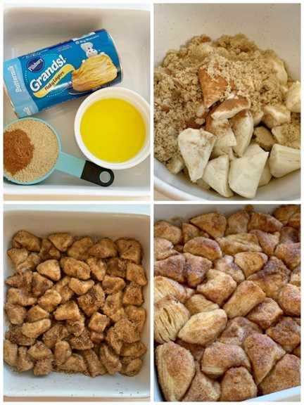 ¡La Cazuela de Rollo de Canela es tan fácil y simple de hacer! Galletas cubiertas de canela, azúcar y mantequilla. Pequeños bocados de canela en una cacerola fácil de preparar para el desayuno.