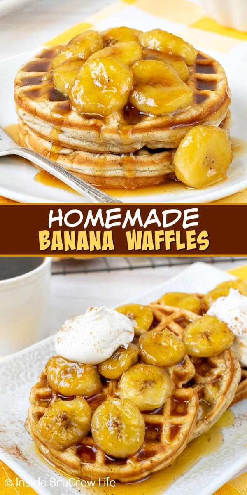 Waffles de plátano caseros: estos waffles de plátano fáciles tienen un exterior crujiente y suave por dentro y saben a pan de plátano. Haga un lote para el desayuno y un lote para congelar para más tarde.