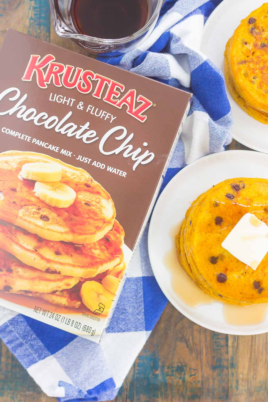 These chocolate chip pumpkin pancakes make a delicious and cozy breakfast for fall. Filled with sweet pumpkin and overflowing with chocolate chips, these simple pancakes are soft, fluffy, and so easy to make!