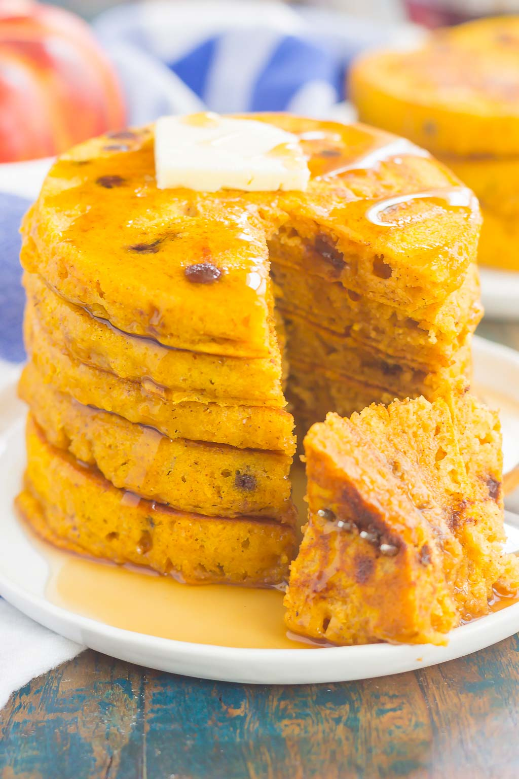 These chocolate chip pumpkin pancakes make a delicious and cozy breakfast for fall. Filled with sweet pumpkin and overflowing with chocolate chips, these simple pancakes are soft, fluffy, and so easy to make! # pancakes # pumpkin pancakes #chocolatechippancakes # pancake recipe # breakfast