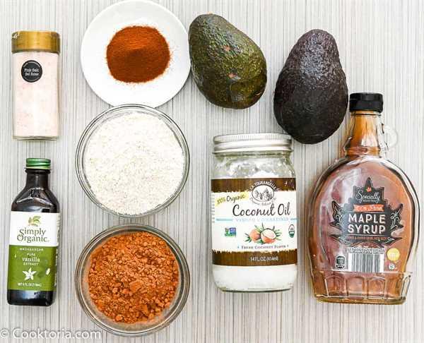 Ingredientes para brownies de aguacate