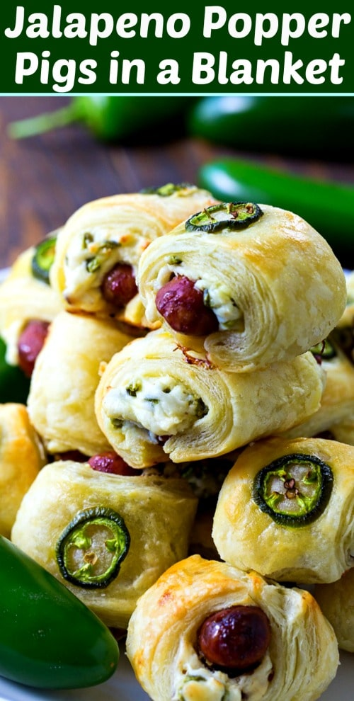 Jalapeño Popper Pigs in a Blanket #appetizer #spicy #gameday