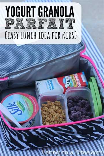 ¿Busca ideas fáciles para el almuerzo para niños? Pruebe este sencillo parfait de yogurt de granola que los niños pueden disfrutar en la escuela. Esta es una idea fácil para el almuerzo.