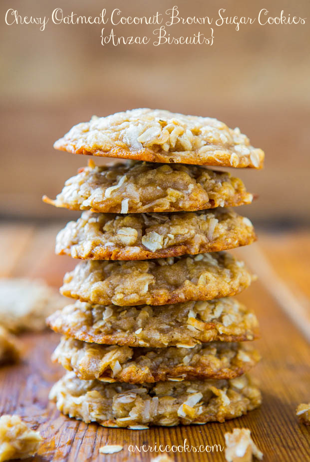 Chewy Brown Coconut Oatmeal Sugar Cookies {Anzac Biscuits} - Easy, chewy, eggless, and mixer-free soft, chewy cookies recipe at averiecooks.com