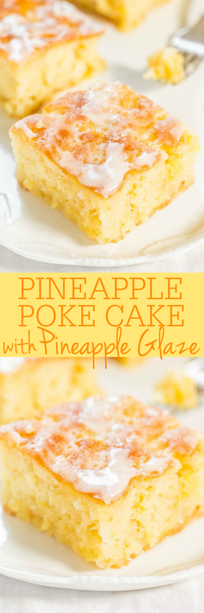 Pineapple Cake with Pineapple Icing: Quick, easy, single bowl, no mixer cake from scratch, easier than a mix! The glaze soaks every inch and you will be in the juicy pineapple heaven!