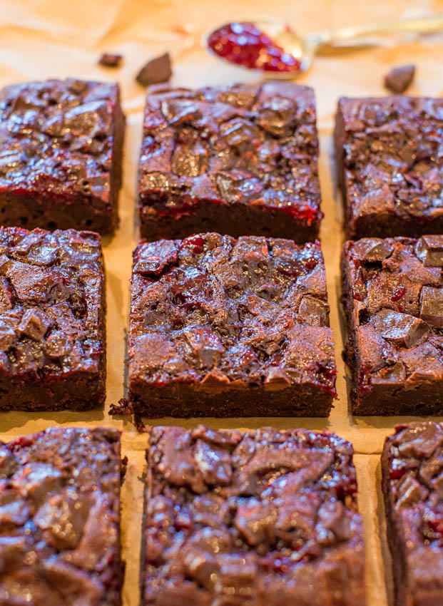 Chocolate Cherry Chocolate Chunk Fudgy Brownies - Scratch brownies as quick and easy as using a mix, and loaded with a bold flavor of chocolate and cherry jam! Easy recipe at averiecooks.com