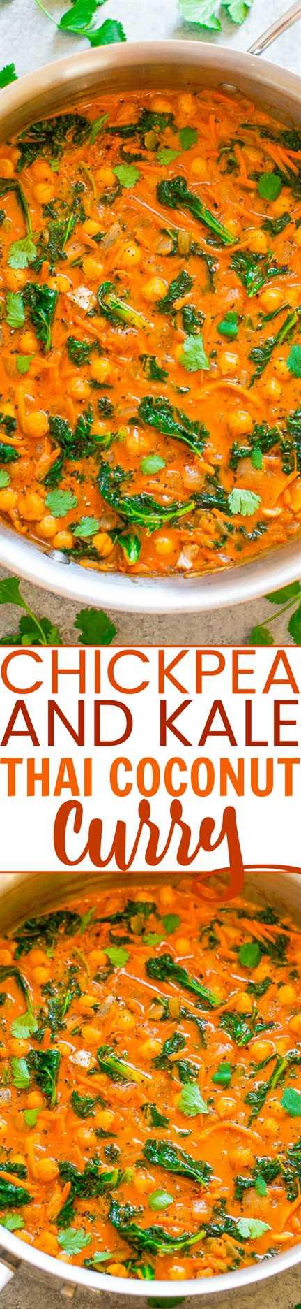 Curry de coco tailandés con garbanzos y col rizada: ¡un FÁCIL curry vegano de una sartén que está listo en 15 minutos y tiene sabores increíbles inspirados en Tailandia! ¡Bajo en calorías, bajo en carbohidratos y SALUDABLE, pero sabe a abundante comida reconfortante!