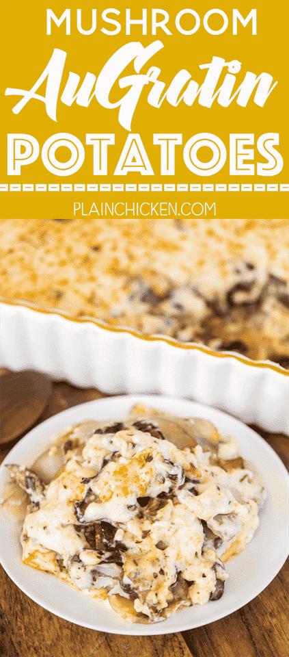 Champiñones al Gratín - ¡Un plato increíble! Champiñones, papas y salsa de queso gruyere casera. ¡Se junta en minutos! Genial para una cena o comida compartida. ¡Un verdadero deleite de la multitud!