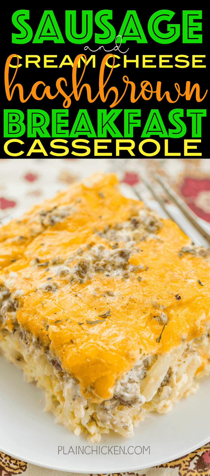 Hashbrown Sausage and Cream Cheese Breakfast Casserole - All my favorite breakfast foods in one easy saucepan! Frozen potato chips, sausages, cream cheese, eggs, and cheddar cheese. You can make ahead and refrigerate or freeze for later. You can divide it between two trays and bake one and freeze one for later. This breakfast casserole is great for breakfast, lunch, great for brunch, lunch, dinner and any next vacation breakfast! SO GOOD!