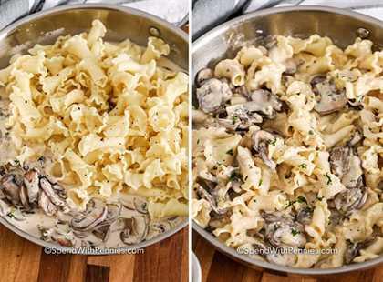 Dos imágenes que muestran la cremosa salsa de champiñones antes y después de mezclarla con la campanela.