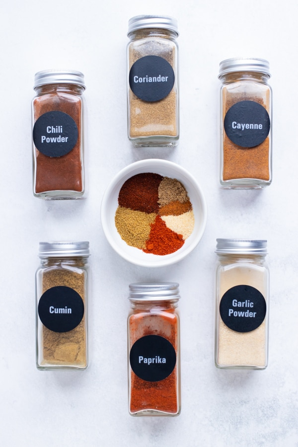 The spices found in a taco seasoning mix.