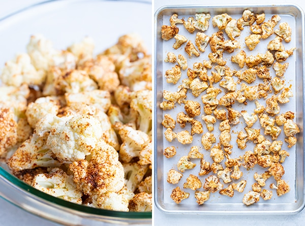 A clear glass bowl filled with cauliflower with taco seasoning, and then another image of a single-layer baking sheet.