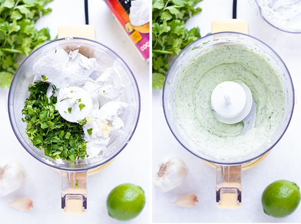 Two images showing the before and after of mixing a vegan lime cream and coriander sauce made from coconut cream.