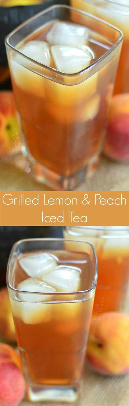 Té helado de limón y durazno a la parrilla. Bebida refrescante para el verano y un delicioso experimento que aporta un poco de sabor a parrilla ahumada a una bebida.
