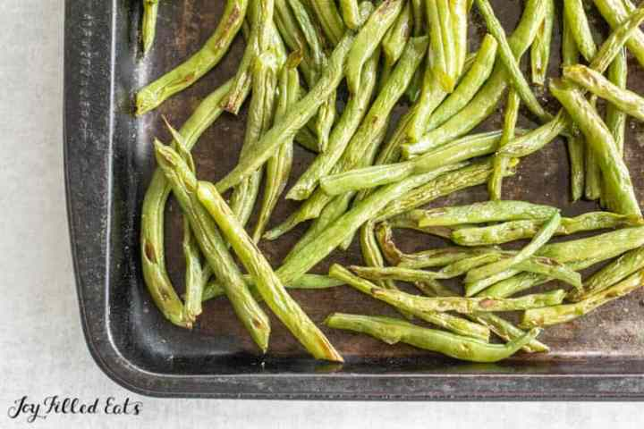 Baking tray with oven roasted green beans