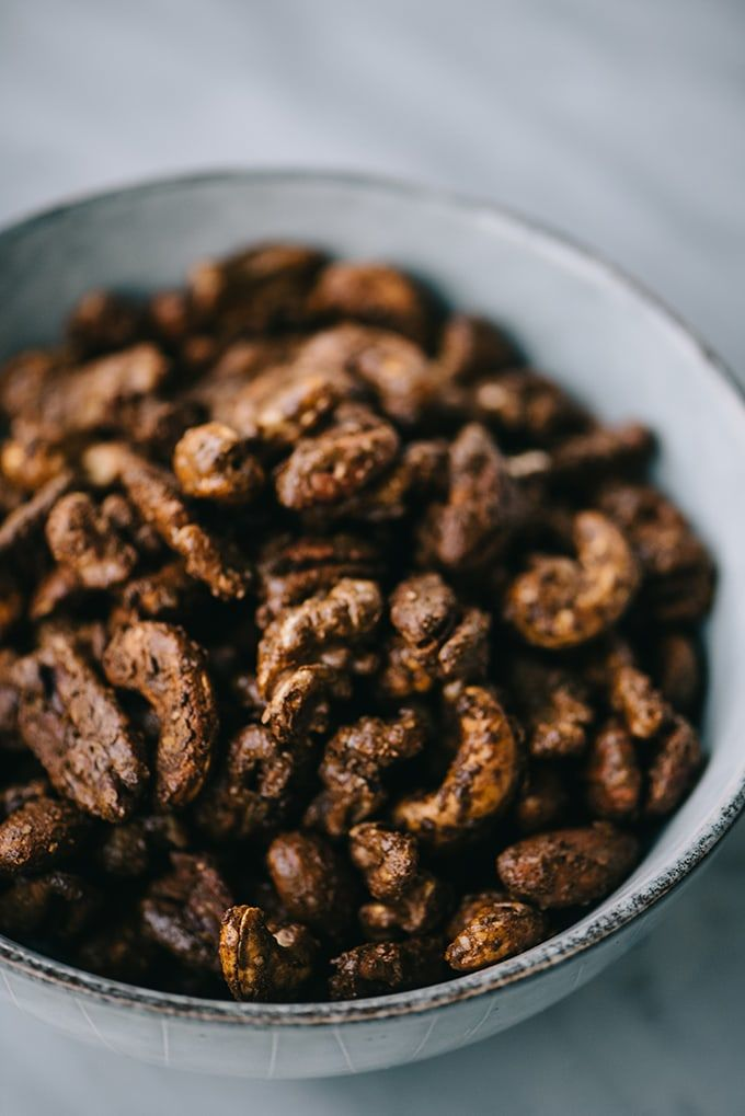 A bowl of paleo and unsweetened gingerbread with spiced nuts.