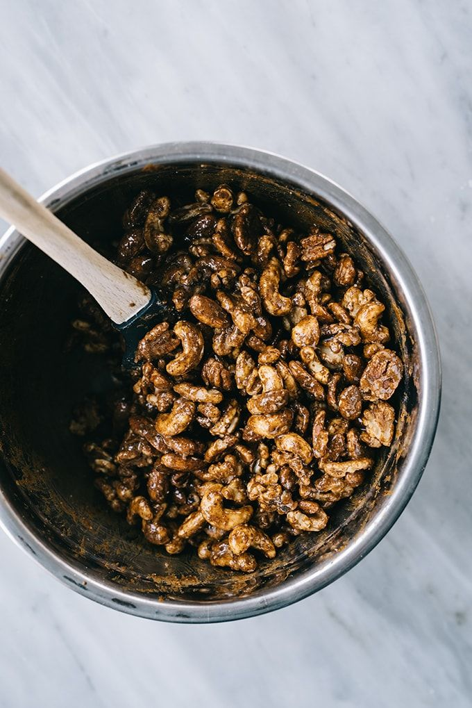 Raw walnuts mixed with egg white, gingerbread spices, salt, and coconut sugar.
