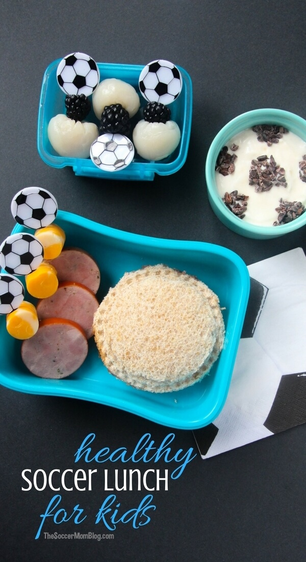 An easy and healthy soccer-themed kids lunch that is a guaranteed hit with little soccer fans! Ready in minutes and provides lasting energy for the school day.