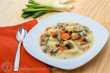 Sopa de champiñones y papa rusa-5