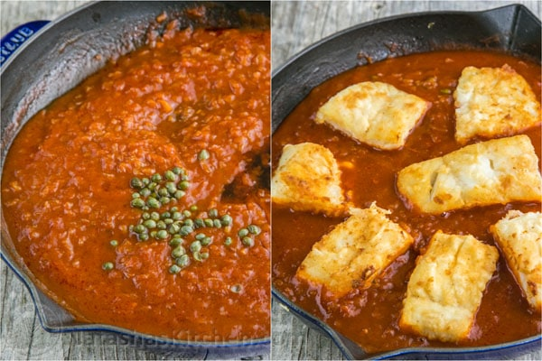 Cod in Tomato Sauce. The fish is flaky and juicy and the sauce is legitimate! The | natashaskitchen.com