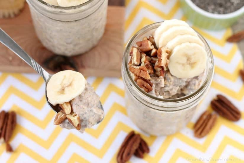 Bananas, cinnamon, and walnuts combine in this overnight oatmeal to create a delicious protein-inspired banana bread-inspired breakfast.