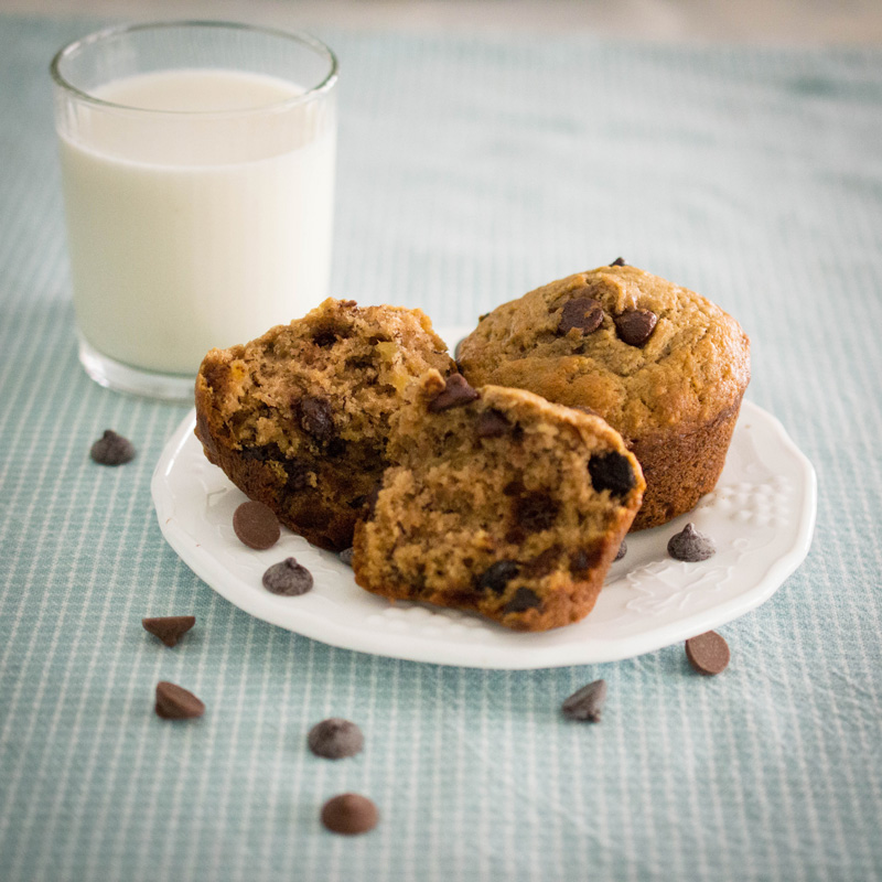 These chocolate chip banana muffins are smooth, buttery, chocolatey, and a bit decadent.