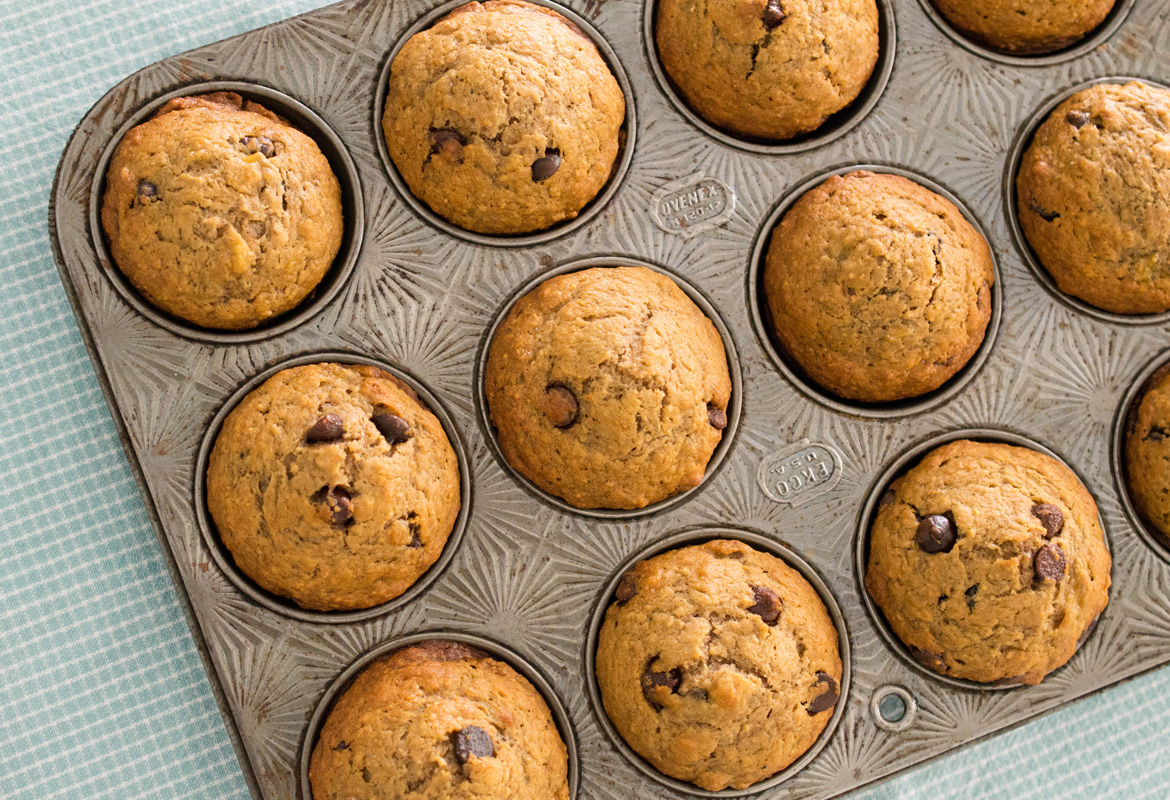 Banana Muffins with Perfect Weekend Chocolate Chips