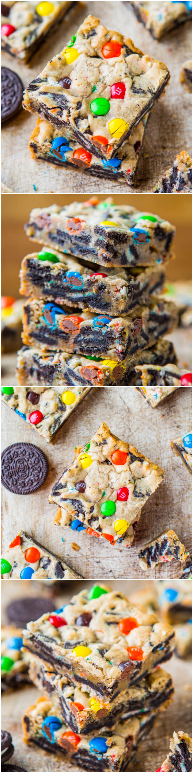 Loaded M&M Oreo Cookie Bars: Easy Mixer-Free Recipe at averiecooks.com
