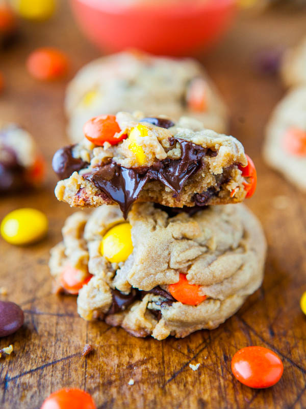 Reese's Pieces - Peanut Butter Soft Cookies - Recipe at averiecooks.com