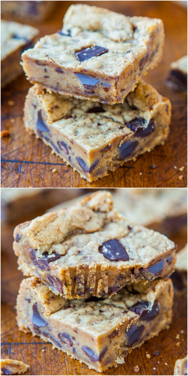 Peanut Butter Chocolate Chip Cookie Bars - Smooth peanut butter bars with big chunks of chocolate in every bite! Faster and easier than making cookies!