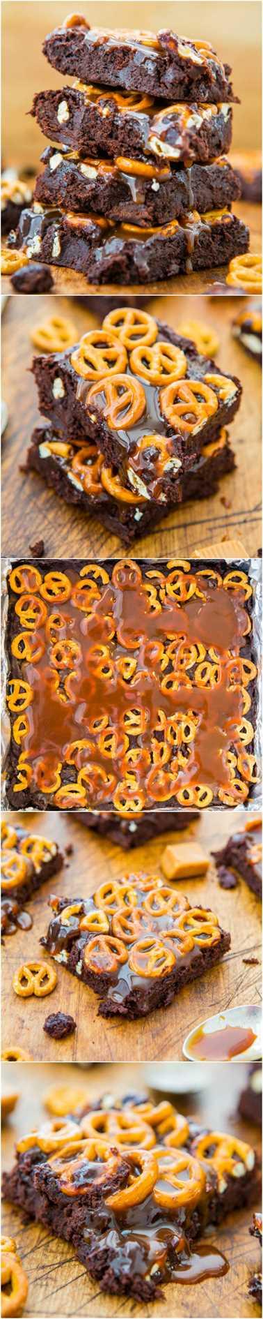 Brownies de chocolate con caramelo pretzel alted - Brownies de rasguño supremamente fudgy tan fáciles como una mezcla. ¡Salado y dulce y goteando caramelo! Receta fácil y sin mezclador en averiecooks.com