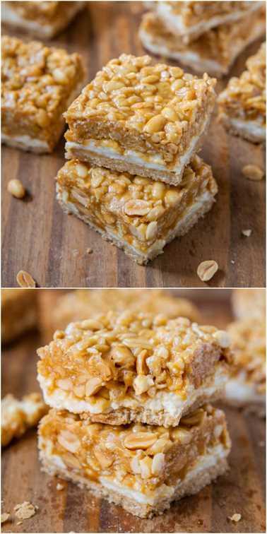 Peanut Chewy Payday Bars - ¡Como la clásica barra de caramelo y con una capa de malvavisco también! ¡Suave y masticable, salado y dulce, todo en una barra fácil!