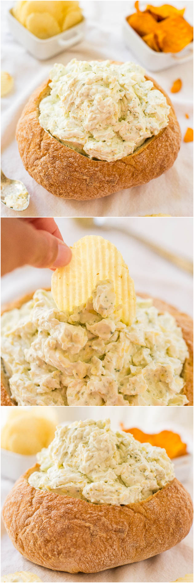 Dip cremoso de tazón de pan de queso y rancho: ¡una salsa fácil de hornear sin sabor con un sabor audaz! ¡Un chapuzón perfecto para la fiesta y puedes comer el plato!