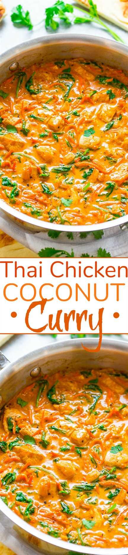 Thai Chicken Coconut Curry - ¡Un curry FÁCIL de una sartén que está listo en 20 minutos y está lleno de sabores fabulosos! ¡Bajo en calorías, bajo en carbohidratos y SALUDABLE, pero sabe a comida reconfortante!