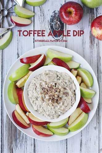 Toffee Apple Dip: solo 5 ingredientes y 5 minutos para la salsa de postre más decadente. Perfecto con manzanas, galletas saladas, pretzels ... ¡las opciones son infinitas!