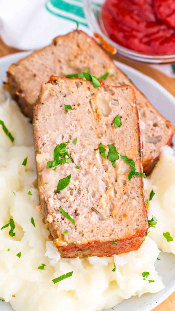 Slice of turkey meatloaf