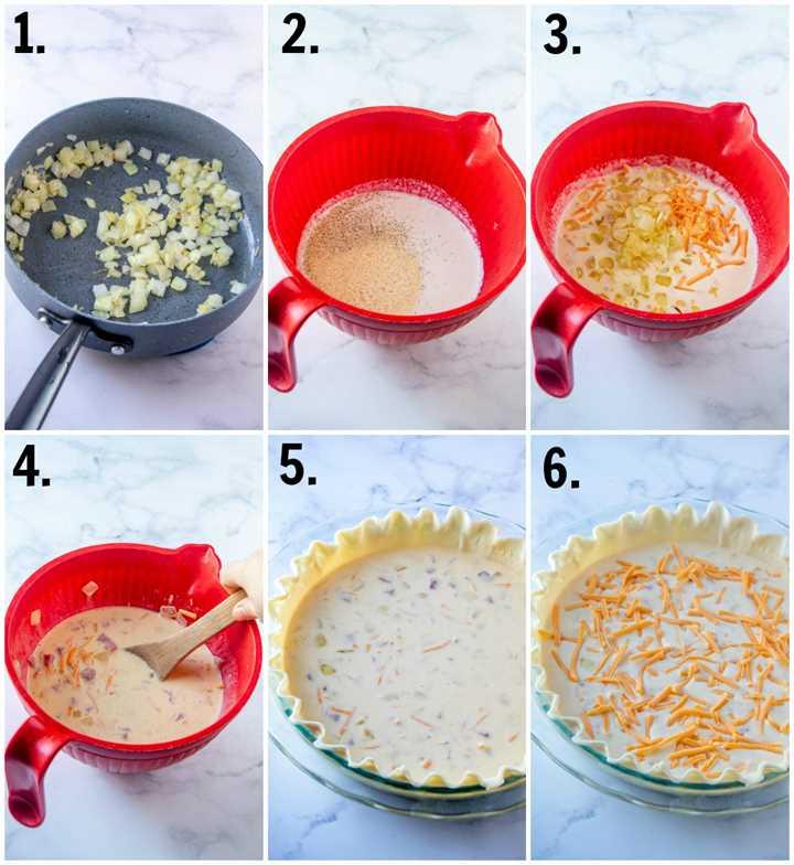 Fotos paso a paso sobre cómo hacer quiche de jamón y queso