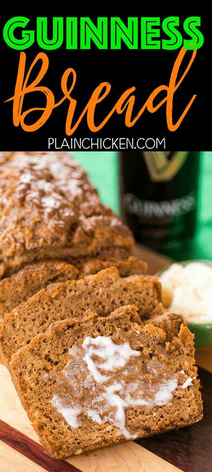 Pan Guinness: ¡tan fácil y TAN delicioso! Listo para comer en una hora! En serio el mejor pan de cerveza que he comido! Harina, levadura, sal, azúcar, melaza, cerveza Guinness y mantequilla derretida. Genial para el día de San Patricio!