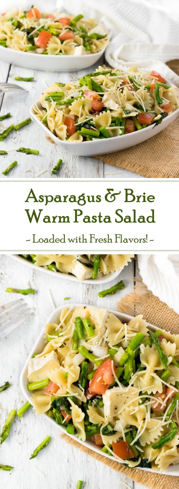 Warm pasta salad recipe with asparagus and brie cheese