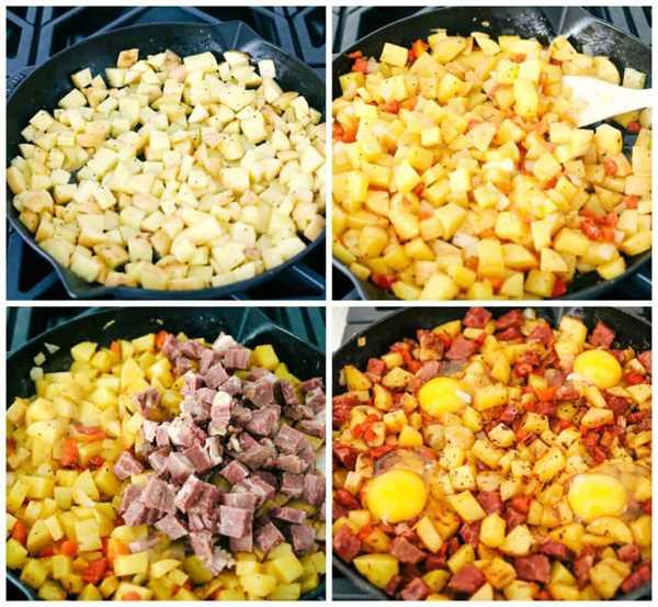 El proceso de cocinar papas, agregar pimientos rojos en la sartén, luego agregar las sobras de carne en conserva y agregar huevos en la parte superior.