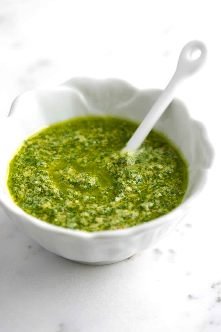Make the pesto greener and tastier