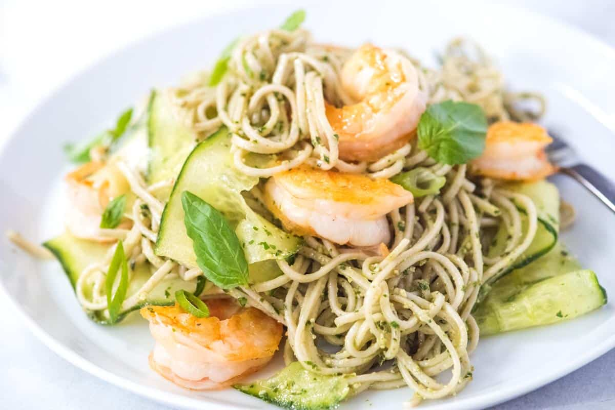 Ridiculously good noodle recipe with shrimp pesto and soba