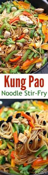 ¡Receta de salteado de fideos Kung Pao con pollo y verduras frescas! Receta de gustos mejor desde cero