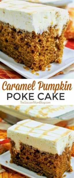 Este soñador pastel de calabaza está empapado con un rico caramelo y cubierto con un glaseado de queso crema suave y esponjoso.