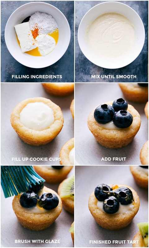 Imágenes de los ingredientes de relleno que se mezclan y luego se agregan a las tazas y se cubren con fruta fresca y se cepillan con el esmalte