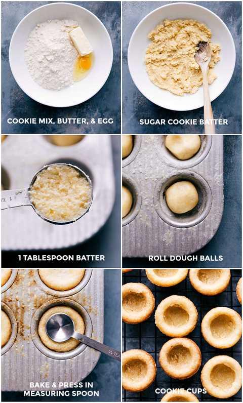Procese las tomas: imágenes de la base de masa de galletas que se está haciendo y luego horneando y preparando para contener el relleno y la fruta