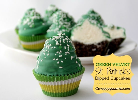 St. Patrick's Velvet Green Coated Cupcakes from SnappyGourmet.com