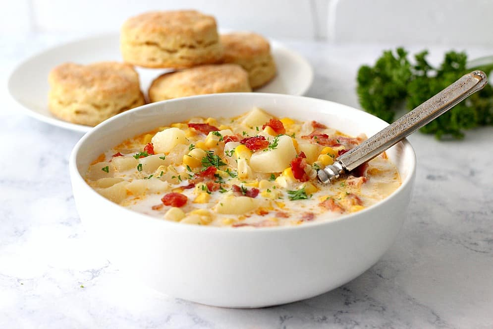 instant potted corn chowder 3 instant potted corn chowder with bacon recipe