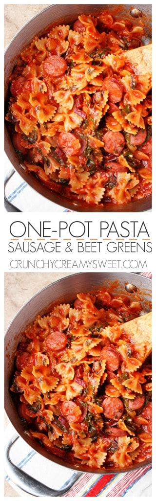 One Pot Pasta with sausage and green beets recipe gluten free pasta onepot crunchycreamysweet.com 320x1024 One Pot Pasta with sausage and beets